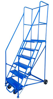Six Step Rolling Ladder with Guard Rails  Model Number: RL6NH